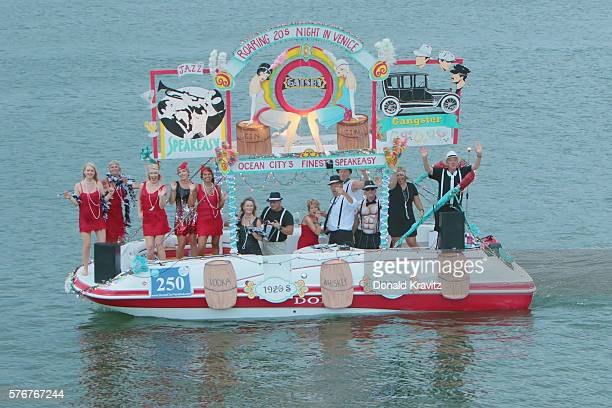 Theme Roaring 20's Speakeasy takes part in the Night In Venice Boat Parade at Back Bay of Ocean City on July 16 2016 in Ocean City New Jersey