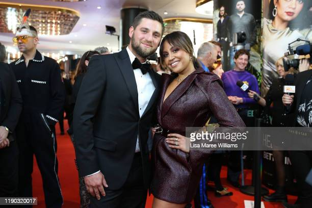 Themeli Magripilis and Jessica Mauboy arrive for the 33rd Annual ARIA Awards 2019 at The Star on November 27, 2019 in Sydney, Australia.