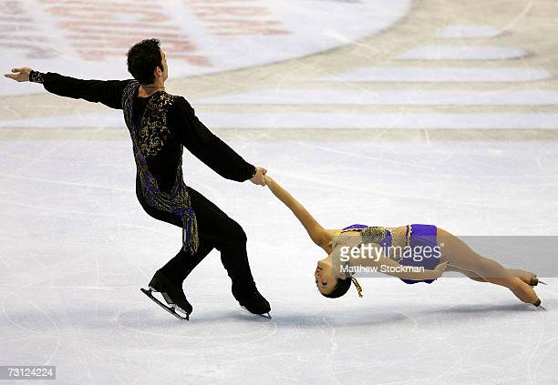 Themistocles Leftheris and Naomi Nari Nam compete in the free skate portion of the pair's competition during the State Farm US Figure Skating...