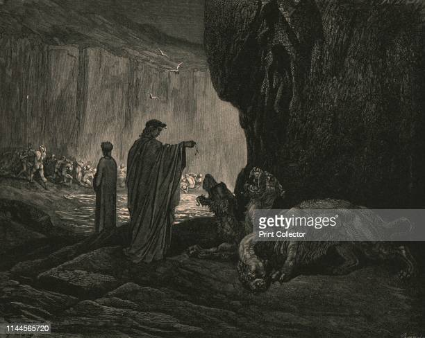 Then my guide, his palms expanding on the ground, thence filled with earth, rais'd them, and cast it in his ravenous maw', circa 1890. Dante and the...