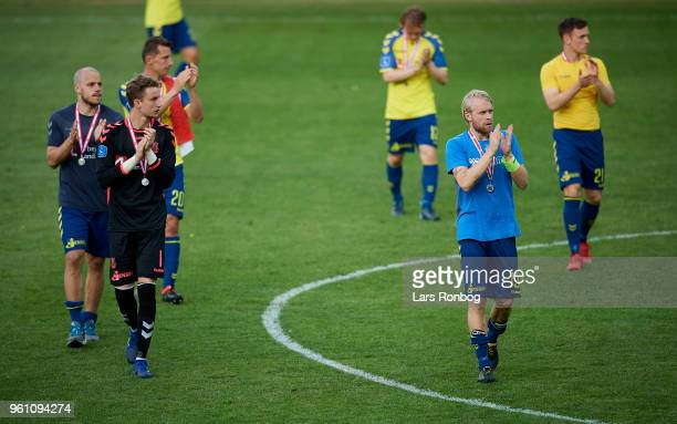 Then players of Brondby IF applause the fans after the Danish Alka Superliga match between Brondby IF and AaB Aalborg at Brondby Stadion on May 21...
