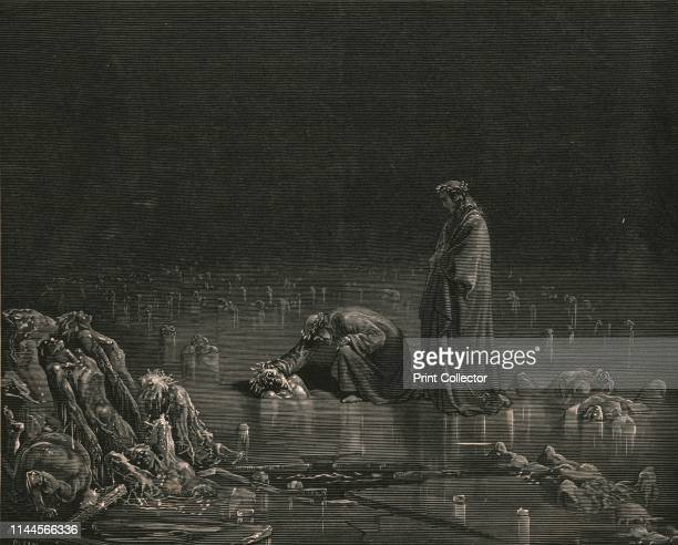 """Then seizing on his hinder scalp, I cried: """"Name thee, or not a hair shall tarry here""""', circa 1890. Dante and the Roman poet Virgil walk on a frozen..."""