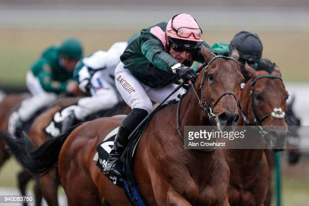 Theo Bachelot riding City Light win The Betway AllWeather Sprint Championships Conditions Stakes at Lingfield Park on March 30 2018 in Lingfield...