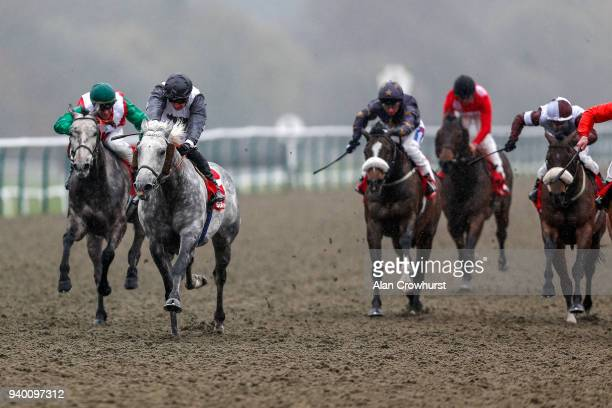 Theo Bachelot riding Lucky Team win The Sunbets AllWeather Mile Championships Conditions Stakes at Lingfield Park on March 30 2018 in Lingfield...