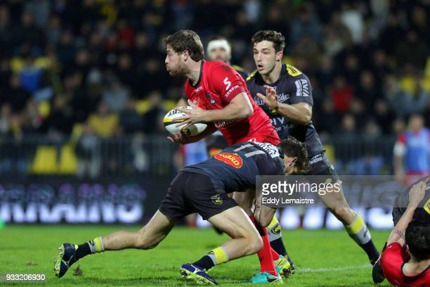 Theo Belan of Lyon during the Top 14 match between La Rochelle and Lyon at Stade Marcel Deflandre on March 17 2018 in La Rochelle France