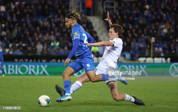 Theo Bongonda of Krc Genk battles for the ball with Calvin Dekuyper of Cercle during the Jupiler Pro League match between KRC Genk and Cercle Brugge...