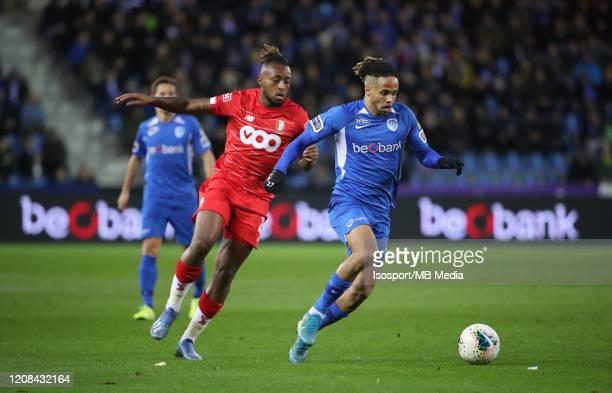 Theo Bongonda of Krc Genk battles for the ball with Samuel Bastien of Standard during the Jupiler Pro League match between KRC Genk and Standard...