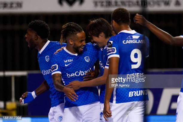 Theo Bongonda of KRC Genk celebrate third KRC Genk goal of the evening during the Jupiler Pro League match between KRC Genk and KV Oostende at...