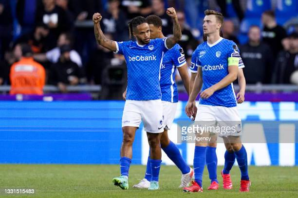 Theo Bongonda of KRC Genk celebrates the second goal for KRC Genk of the evening during the Jupiler Pro League match between KRC Genk and KV Oostende...