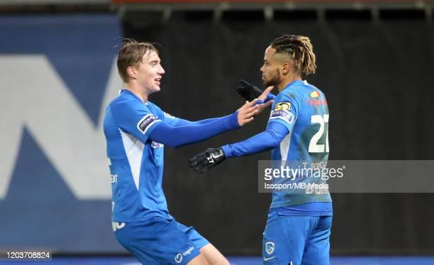 Theo Bongonda of Krc Genk celebrates with Kristian Thorstvedt of Krc Genk after scoring a goal during the Jupiler Pro League match between SV Zulte...