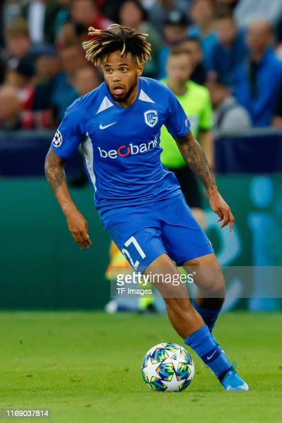 Theo Bongonda of KRC Genk controls the ball during the UEFA Champions League group E match between RB Salzburg and KRC Genk at Red Bull Arena on...