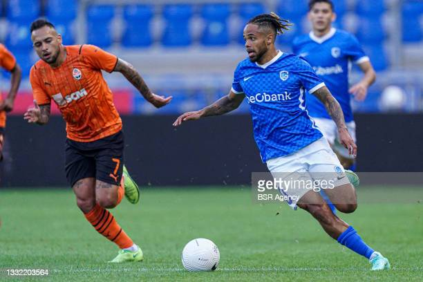 Theo Bongonda of KRC Genk drives the ball during the Champions League qualification match between KRC Genk and Shakhtar Donetsk at Luminus Arena on...