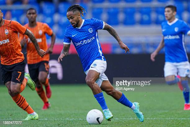 Theo Bongonda of KRC Genk during the Champions League qualification match between KRC Genk and Shakhtar Donetsk at Luminus Arena on August 3, 2021 in...