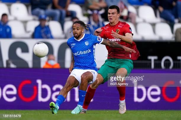 Theo Bongonda of KRC Genk during the Jupiler Pro League match between KRC Genk and KV Oostende at Luminus Arena on July 30, 2021 in Genk, Belgium