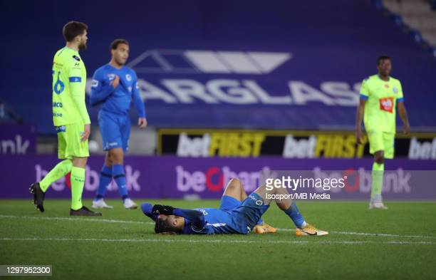 Theo Bongonda of KRC Genk looks dejected during the Jupiler Pro League match between KRC Genk and KAA Gent at Luminus Arena on January 21, 2021 in...