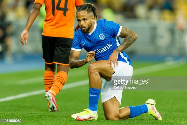 Theo Bongonda of KRC Genk looks dejected during the UEFA Champions League 2021-22 third qualifying round 2nd leg between Shakhtar Donetsk and KRC...