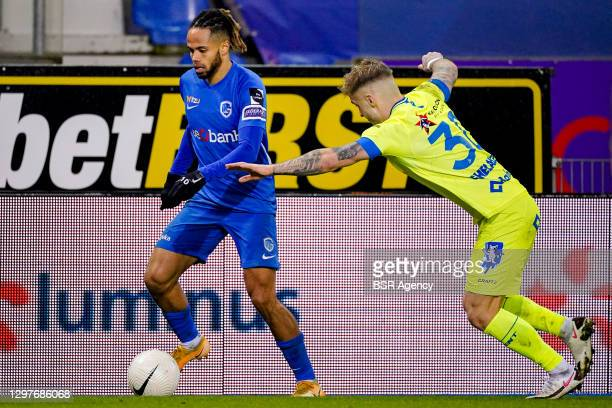 Theo Bongonda of KRC Genk, Niklas Dorsch of KAA Gent during the Pro League match between KRC Genk and KAA Gent at Luminus Arena on January 21, 2021...