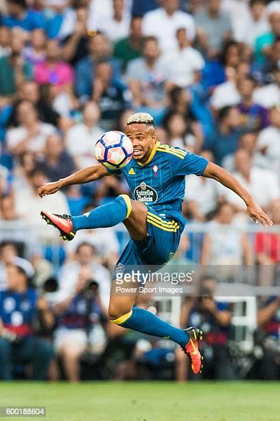 Theo Bongonda of RC Celta de Vigo in action during their La Liga match at the Santiago Bernabeu Stadium between Real Madrid and RC Celta de Vigo on...