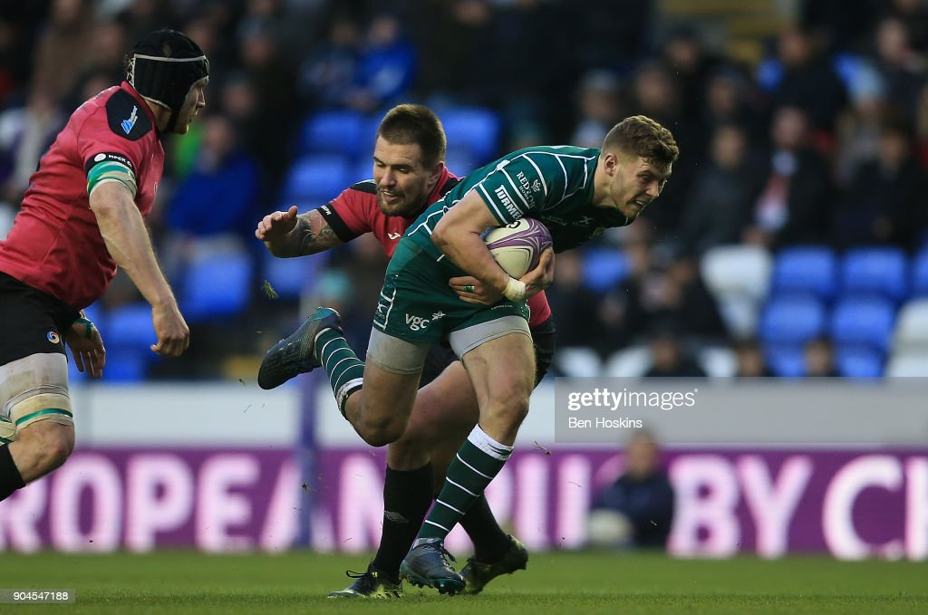 Theo Brophy Clews of London Irish makes a break during the European Rugby Challenge Cup between London Irish and Krasny Yar on January 13, 2018 in Reading, United Kingdom.