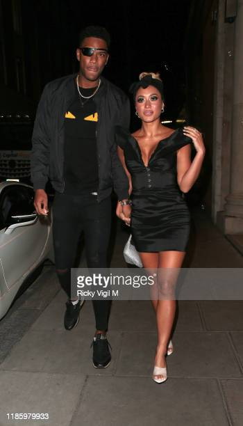 Theo Campbell and Kaz Crossley seen attending the launch party for Anna Vakili x PrimaLash at Libertine club on November 06 2019 in London England