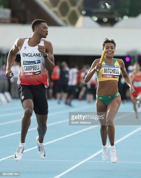 Theo Campbell of England gestures towards Morgan Mitchell of Australia as he wins the Mixed 4x400 Metre Relay during the 2017 Nitro Athletics Series...
