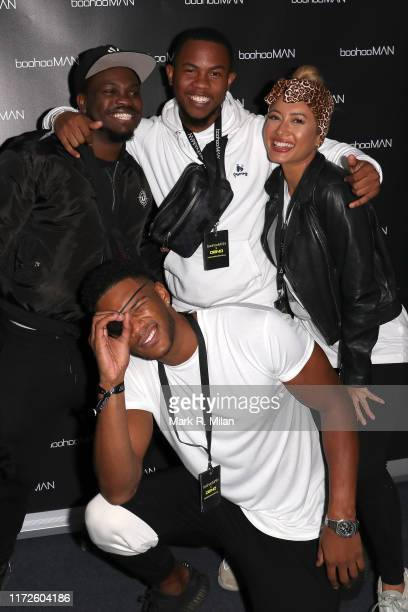 Theo Campbell Sideman and Kaz Crossley attending the boohooMAN x DENO Launch Party held at Thorpe Park The theme park was closed exclusively for the...