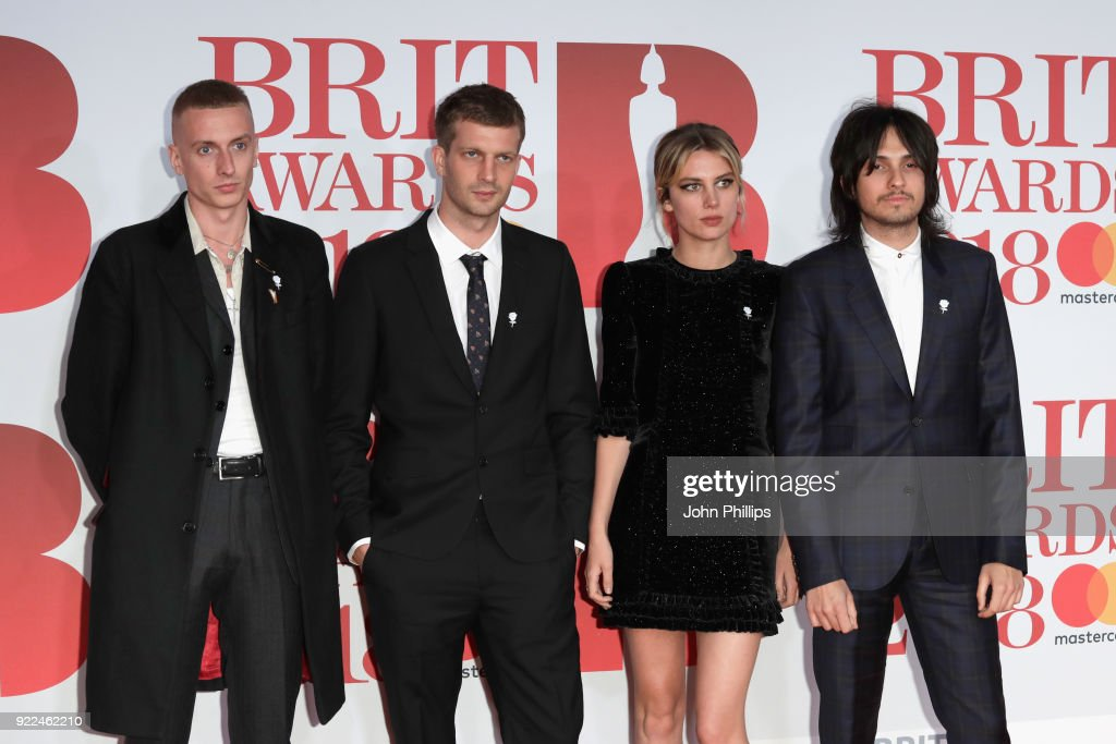Theo Ellis, Joff Oddie, Ellie Rowsell and Joel Amey of Wolf Alice attend The BRIT Awards 2018 held at The O2 Arena on February 21, 2018 in London, England.