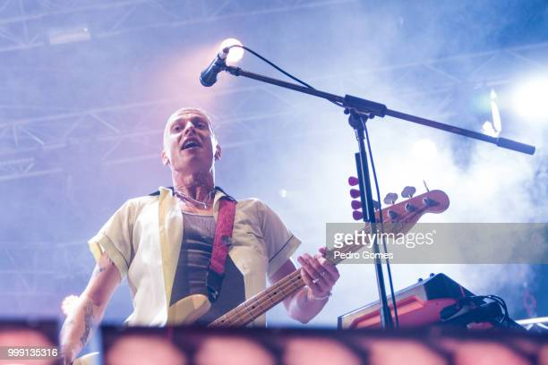 Theo Ellis of the band Wolf Alice performs on the Sagres Stage on day 1 of NOS Alive festival on July 12 2018 in Lisbon Portugal