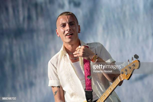 Theo Ellis of Wolf Alice performs on stage during TRNSMT Festival Day 2 at Glasgow Green on June 30 2018 in Glasgow Scotland