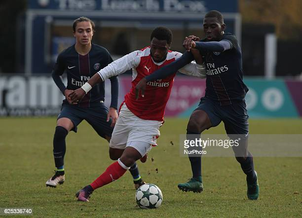LR Theo Epailly of Paris SaintGermain Kaylen Hinds of Arsenal Under 19s and Boubakary Soumare of Paris SaintGermain Under 19s during UEFA Youth...