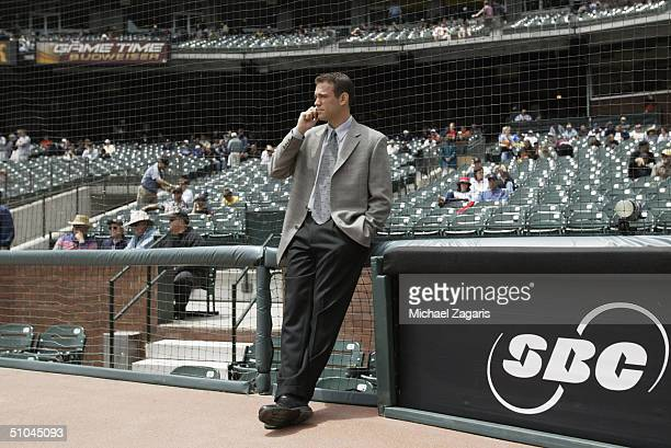 Theo Epstein of the Boston Red Sox talks before the MLB game against the San Francisco Giants at SBC Park on June 20 2004 in San Francisco California...