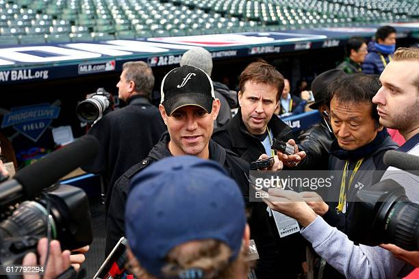 Theo Epstein President of Baseball Operations for the Chicago Cubs speaks to the press during Media Day for the 2016 World Series at Progressive...