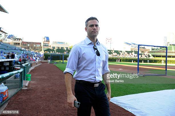 Theo Epstein President of Baseball Operations of the Chicago Cubs before a game between the Chicago Cubs and the San Diego Padres on July 24 2014 at...