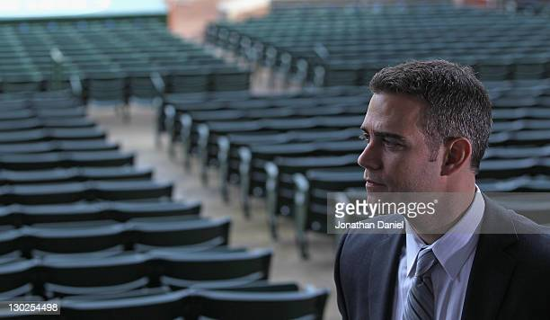 Theo Epstein the new President of Baseball Operations for the Chicago Cubs looks over Wrigley Field following a press conference on October 25 2011...