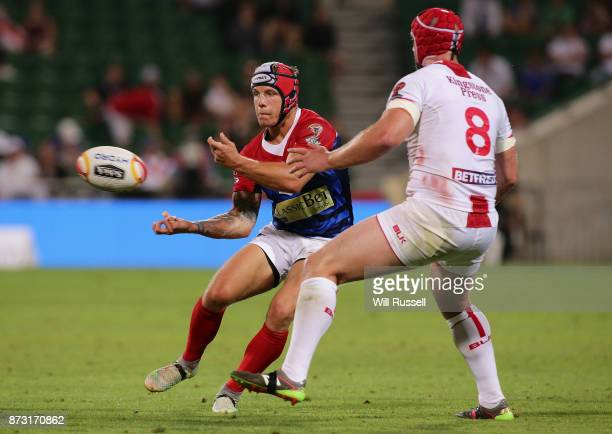 Theo Fages of France passes the ball during the 2017 Rugby League World Cup match between England and France at nib Stadium on November 12 2017 in...