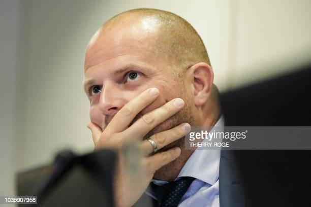 Theo Francken Belgian minster for asylum and migration attends a session of the Chamber Commissions for Interior Affairs at the federal parliament in...