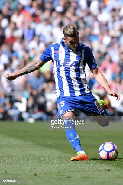 Theo Hernandez #15 of Deportivo Alaves during the La Liga match between Real Madrid CF v Deportivo Alaves at Santiago Bernabeu on April 2 2017 in...