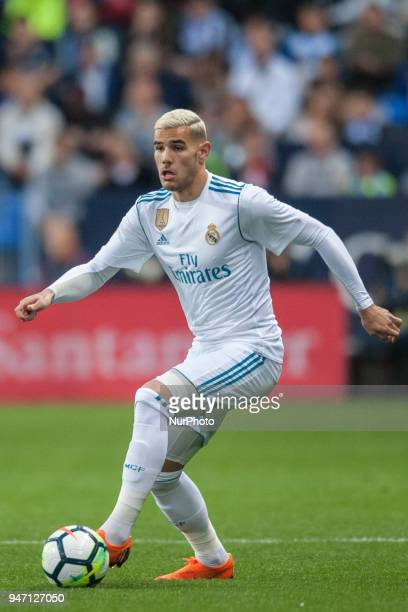 Theo hernandez controls the ball during the match between Malaga CF against Real Madrid week 32 of La Liga 2017/18 in Rosaleda stadium Malaga SPAIN...