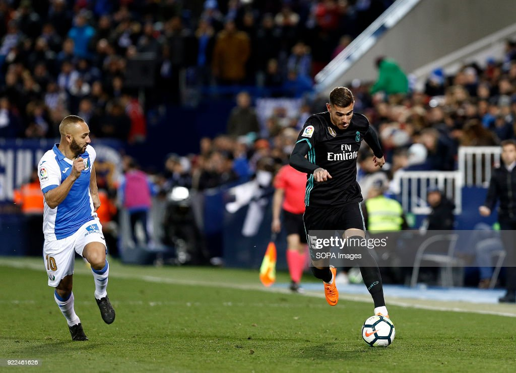 BUTARQUE, LEGANES, MADRID, SPAIN - : Theo Hernandez (Real Madrid) during the La Liga Santander match between Leganes vs Real Madrid at the Estadio Butarque. Final Score Leganes 1 Real Madrid 3.