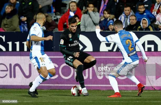 STADIUM LEGANéS MADRID SPAIN Theo Hernandez in action during the match Jan 2018 Leganés and Real Madrid CF at Butarque Stadium Copa del Rey Quarter...