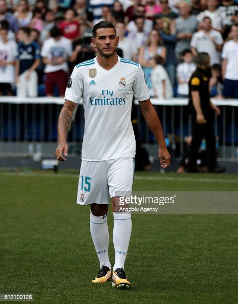 Theo Hernandez newly transferred to Real Madrid poses for a photo during a press conference at the Santiago Bernabeu stadium in Madrid Spain on July...
