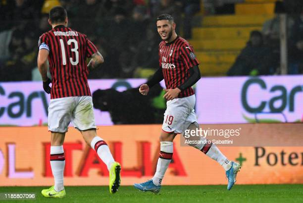 Theo Hernandez of AC Milan celebrates after scoring the opening goal during the Serie A match between Parma Calcio and AC Milan at Stadio Ennio...