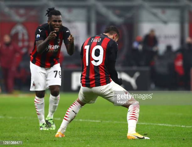 Theo Hernandez of A.C. Milan celebrates after scoring their team's second goal with teammate Franck Kessie during the Serie A match between AC Milan...