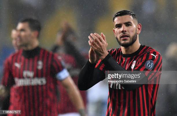 Theo Hernandez of AC Milan celebrates the victory after the Serie A match between Parma Calcio and AC Milan at Stadio Ennio Tardini on December 1...