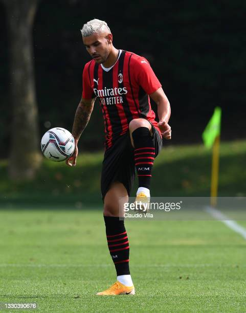 Theo Hernandez of AC Milan in action during a Pre-Season Friendly between AC Milan and Modena at Milanello on July 24, 2021 in Cairate, Italy.