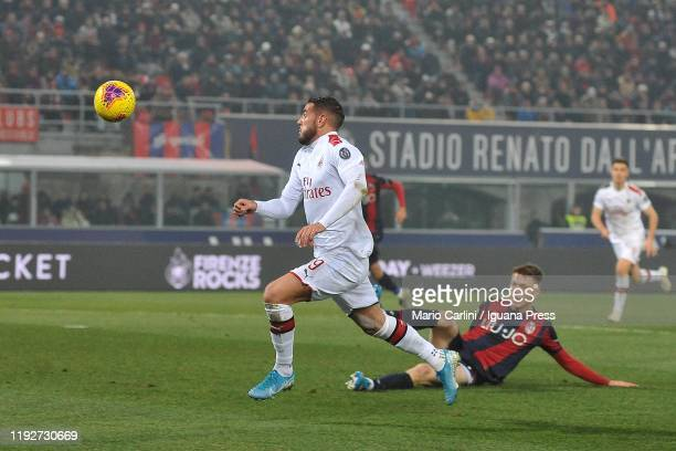 Theo Hernandez of AC Milan in action during the Serie A match between Bologna FC and AC Milan at Stadio Renato Dall'Ara on December 08, 2019 in...