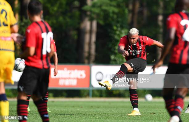Theo Hernandez of AC Milan scores his team's fifth goal during a Pre-Season Friendly between AC Milan and Modena at Milanello on July 24, 2021 in...