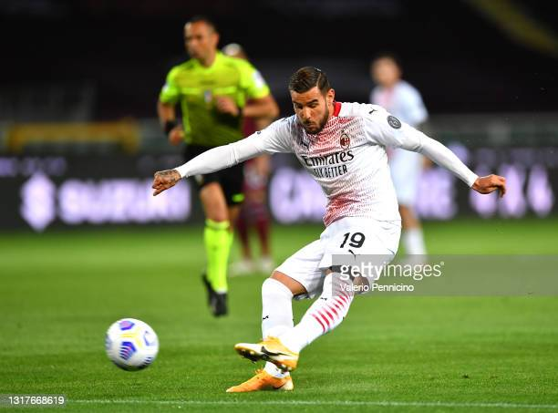 Theo Hernandez of A.C. Milan scores their side's first goal during the Serie A match between Torino FC and AC Milan at Stadio Olimpico di Torino on...