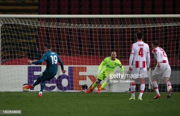 Theo Hernandez of A.C. Milan scores their sides second goal from the penalty spot past Milan Borjan of Crvena Zvezda during the UEFA Europa League...