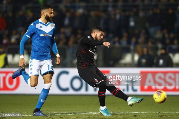 Theo Hernandez of AC Milan strikes the crossbar during the Serie A match between Brescia Calcio and AC Milan at Stadio Mario Rigamonti on January 24,...
